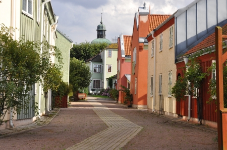 Street in a  picturesque medival town in Sweden.