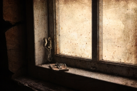 Mouse trap in old attic window, vintage look.