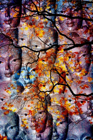 Collage of faces behind autumn colored tree Stock Photo - 17081467