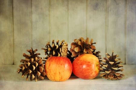 Red apples and pine cones textured vintage style photo