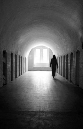 Woman ghost in medieval room  Reklamní fotografie