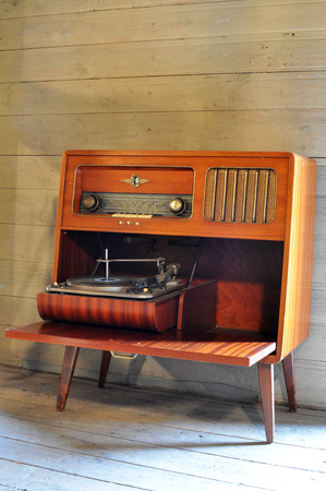 Radio record player from the 1950s photo