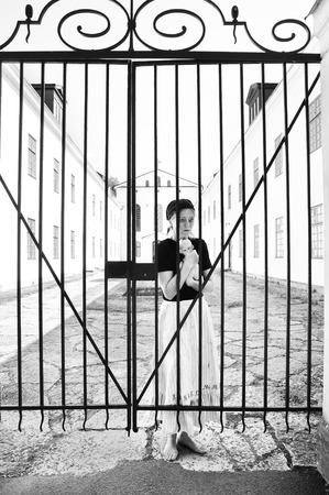 locked up: Woman locked up at a psychiatric hospital Stock Photo
