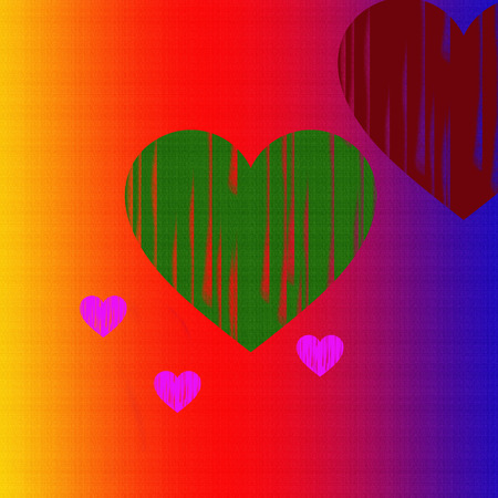 Large and small hearts on multicolored background. photo