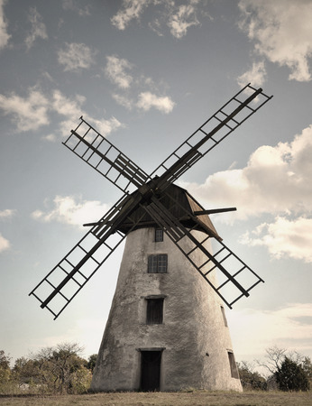 monochromatic: Old traditional windmill monochromatic colors.