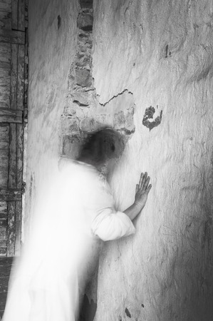 Ghost of mental patient vanish into wall.