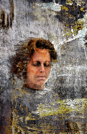 eyes shut: Mixed media portrait of reserved woman with eyes shut.