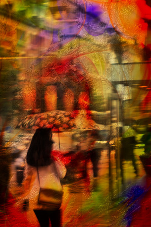 city life: Digital painting mixed media woman with umbrella city life. Stock Photo