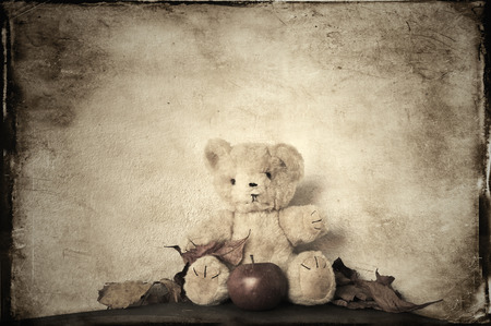 monochromatic: Monochromatic teddy bear vintage textured.
