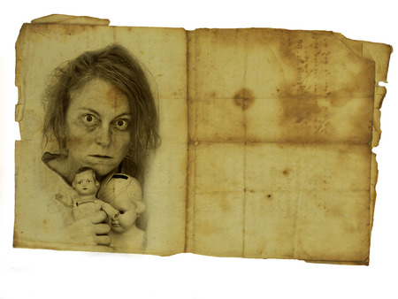 old photograph: Old photograph of crazy woman with two dolls.