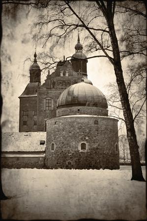 monochromatic: Vadstena castle monochromatic vintage style.