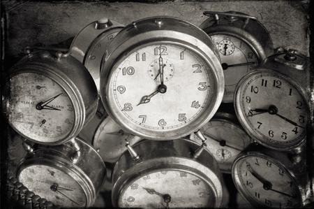 wavily: Monochromatic image of vintage alarm clocks