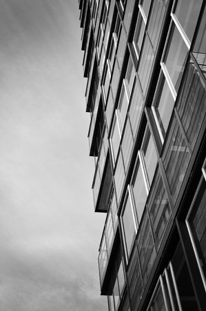 steel building: Skyscraper in black and white high contrast.