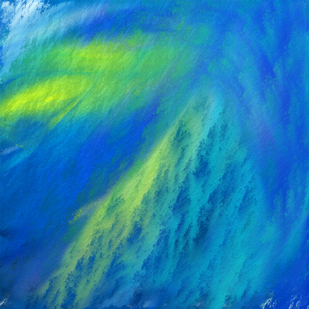 brush strokes: Abstract painting in blue and yellow with strong brush strokes.