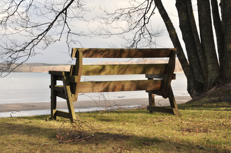 Bench by the lake in early spring.