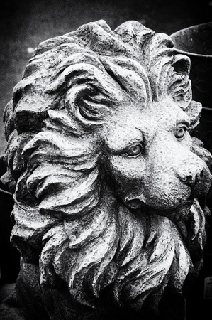 Grainy, textured black and white image of stone lion in closeup.