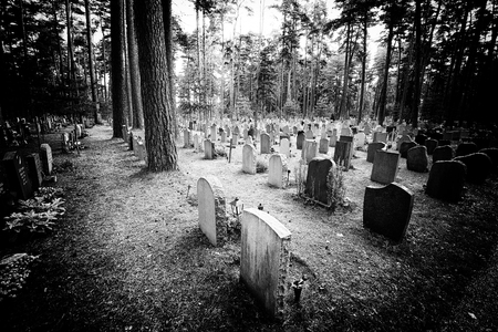 Old graveyard in black and white with film noir feeling