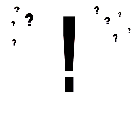 Exclamation mark and question marks isolated on white background