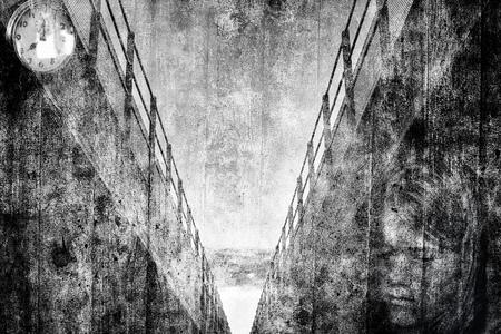 Artistic montage of urban concrete and sad girl. Stock Photo