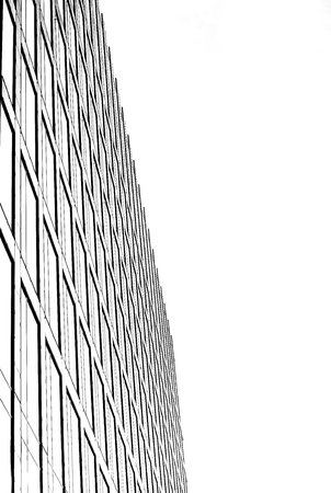 Graphic abstract low angle view of high rise building.