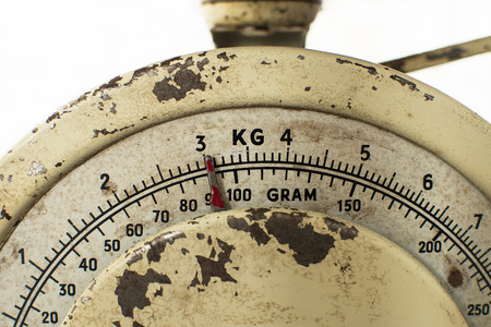 Vintage rusty kitchen scale in closeup