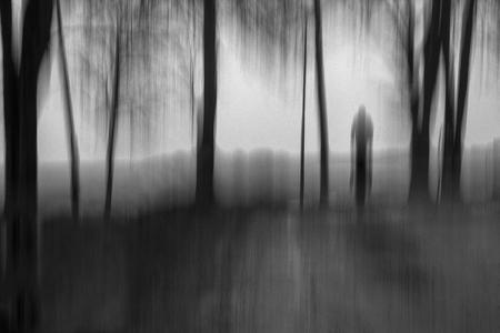 Kreatives strukturiertes Schwarzweißbild in Bewegungsunschärfe des Phantoms, das zwischen Bäumen im Nebel geht. Standard-Bild