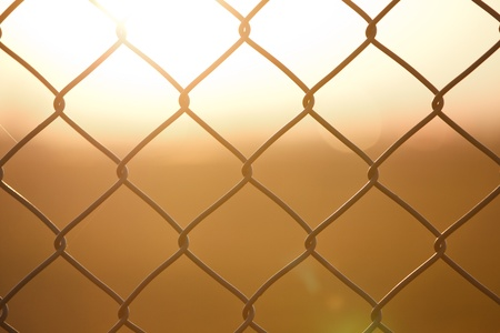 metal fence with sundown photo
