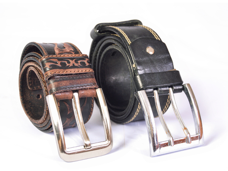 Two leather straps on a white background