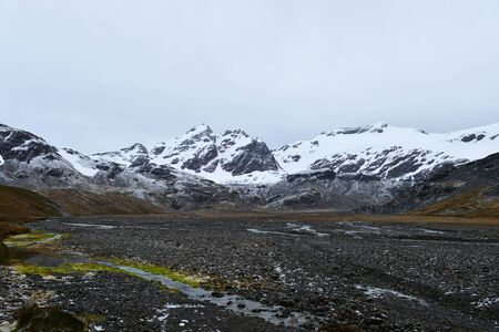 snow covered mountains in winter near antarctic