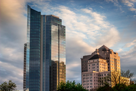 City Buildings in Sunset Glow Stock Photo