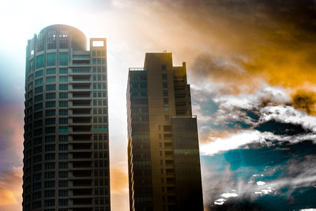 Stormy Backlit Skyscrapers