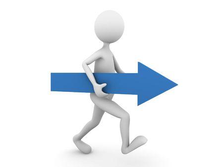 flecha azul: El hombre camina hacia adelante con la flecha azul Foto de archivo