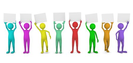 Colorful people holding paper cards Stock Photo