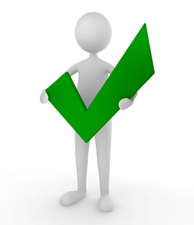 approve icon: Man holding a green tick mark; concept for approval and acceptance Stock Photo