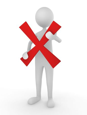 yes: Man holding a red cross mark; concept for declination or rejection Stock Photo