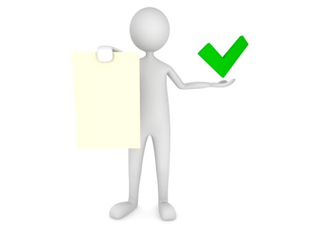 Man showing paper sheet with tick mark Stock Photo
