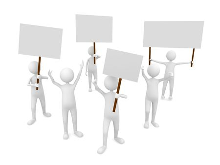 political rally: Protestation with posters Stock Photo