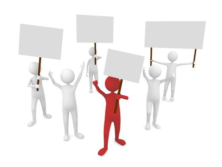 Protestation with leader in front Stock Photo