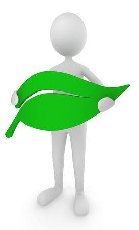 environment friendly: Environment friendly man holding leaf icon