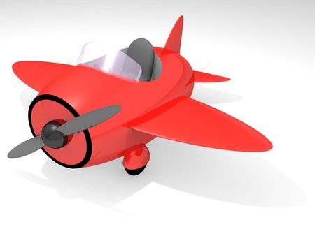 Side view of red toy airplane isolated on white background; 3D render