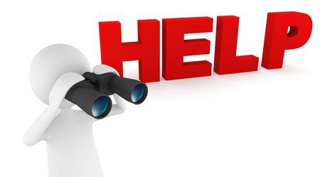 Concept depicting 3D man looking for help through binoculars