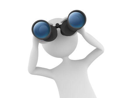 vision future: 3D man via verrekijker zoeken en zoeken Stockfoto
