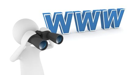 Great concept depicting 3D man browsing and searching the web
