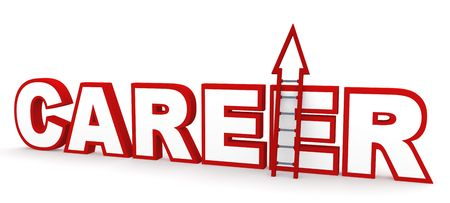 career up: Career concept in 3D, depicting climbing up a career ladder