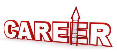 job satisfaction: Career concept in 3D, depicting climbing up a career ladder