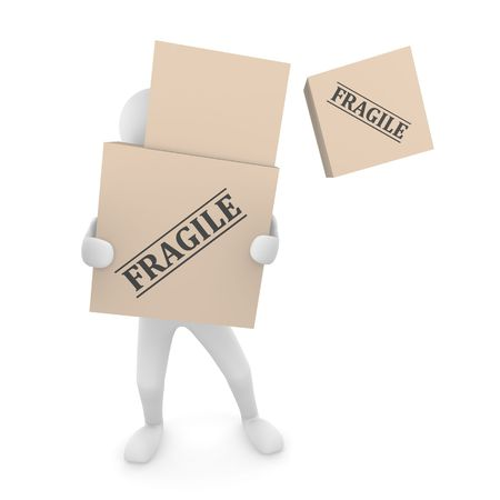Falling Fragile cardboard box off a box pile held by 3D man Stock Photo