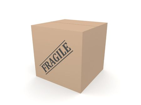 3D cardboard box with Fragile label on it