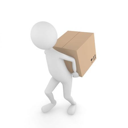 3D man carrying Fragile cardboard box behind the back