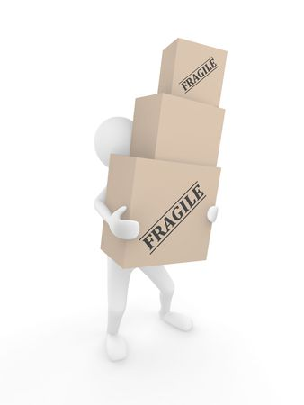 Man holding 3D cardboard boxes with labels Fragile
