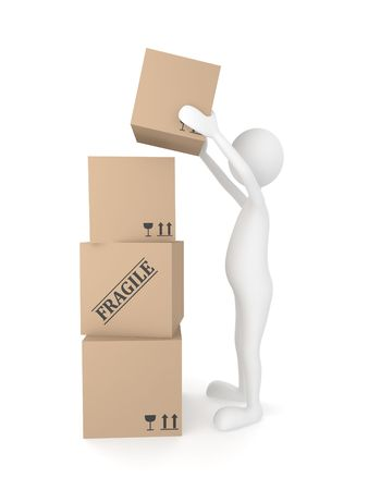 Man putting cardboard box Stock Photo